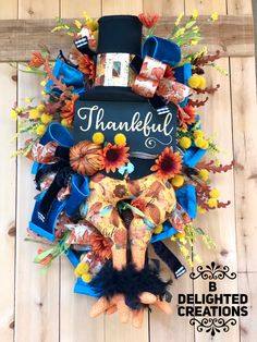 Turkey Wreath, Wreath Fall, Autumn Wreaths, Christmas Ribbon, Christmas Deer, Thanksgiving Wreaths, Thanksgiving Decorations, Wreaths For Front Door, Door Wreaths