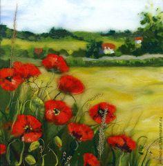 Картина из шерсти Пейзаж с маками - картина,акварель шерстью,живопись шерстью