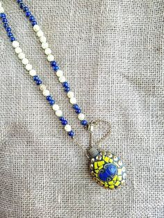 Long Beaded Necklace with Handmade Perfume Bottle