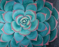 """Social Artworking Canvas Painting Design - Succulent I  Succulents have an architectural form to them that make them unique in the plant world. Their desert colors and trendy status make them the perfect subject for this close up painting. Hang your completed work near a terrarium of live succulents for a great focal point in your home.  CANVAS SIZE:  16"""" x 20""""  TIME TO PAINT:  approximately 2 hours 30 minutes"""
