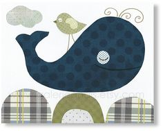 Whale nursery decor - navy blue green ocean sea - bird baby art - boys bedroom bathroom wall decoration - My Little Friend print