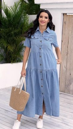 Indian Fashion Dresses, Girls Fashion Clothes, Hijab Fashion, Girl Fashion, Fashion Outfits, Clothes For Women, Blue Dress Casual, Casual Dresses, Summer Dresses