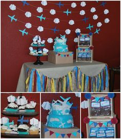 "Photo 2 of 30: Airplanes & Clouds / Birthday ""Bransyn Airlines - Airplane Party"""