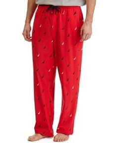 Nautica Knit Pajama Pants Lounge Pockets J Class Print Red www.stores.ebay.com/styleontherun4u