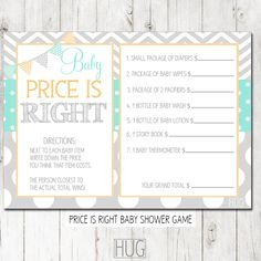 Digital Printable Baby Pricing Game Cards in Mint by HeadsUpGirls