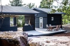 Seaside summerhouse in Finland. Outdoor Spaces, Outdoor Living, Tiny Cabins, House Landscape, River House, Home And Living, My House, Building A House, Beach House