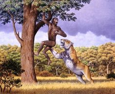 Selection pressures on early humans included evading large predators such as sabre-toothed cats.