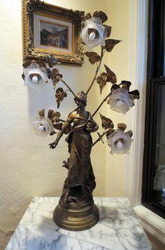 AL0016 - Vintage Spelter Bronze Finish Lamp after Louis Auguste Moreau