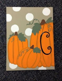 Monogram pumpkin canvas by craftsbydaniellelee on Etsy, $20.00
