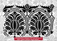 Repeat No 28 stencil Border Embroidery Designs, Embroidery Patterns, Stencils Online, Korean Painting, Arabic Pattern, Stencil Art, Pillow Design, Screen Printing, Medieval