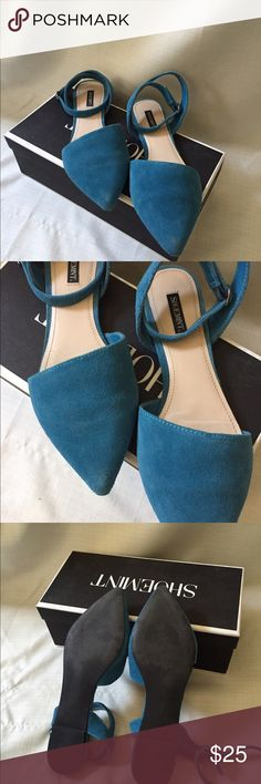 Shoemint Ciella Sandals These beautiful blue flat sandals are super comfy. Side leather with wrap around ankle straps. In great condition. Gently worn. Size 8.5 Shoemint Shoes Flats & Loafers