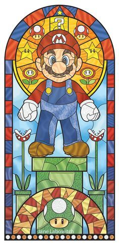 Cool stained glass Super Mario - by Jane Labowitch Super Mario Kunst, Super Mario Art, Gamify Your Life, Geeks, Mario Und Luigi, Retro, Culture Art, Poster Art, Mario Party