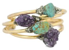 Turquoise Bangle Bracelet Gold Bangle Raw by THEHOUSEOFMINERALS