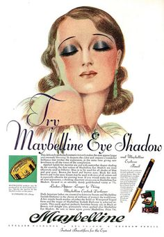 Maybelline Eye Shadow ad, August 1930 - what a beautiful illustration