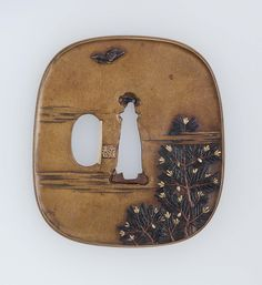 Tsuba with design of pine, bird and crescent moon. Edo period early to mid-19th century - Issando Joi (Japan, 1701–1761), Nara School http://www.mfa.org/collections/object/tsuba-with-design-of-pine-bird-and-crescent-moon-11716