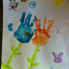 Easter art- hand prints at age 2 1/2