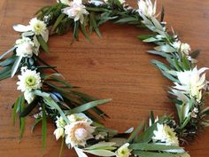 #beautiful #wreath I create from #beautiful #Foliage #Blush #pink #protea #Rosemary #Olive #White and #creamy #Bridal #shop #opening #window display #decor #Wedding #bridal #summer #party #DIY