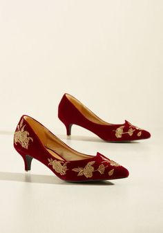 Verified Vogue Velvet Heel in Ruby by Banned - Red, White, Floral, Embroidery, Special Occasion, Prom, Wedding, Party, Cocktail, Girls Night Out, Holiday, Holiday Party, Bridesmaid, Homecoming, Vintage Inspired, 60s, Fall, Winter, Low, Good, Variation, Red, Saturated