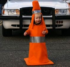 My best Halloween Costume ever. Age 2, Traffic Cone. DIY Halloween costumes for the less-than-crafty mom