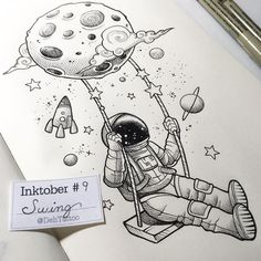 Astronaut passing by to warn that we're in . Trippy Drawings, Space Drawings, Cool Art Drawings, Pencil Art Drawings, Art Drawings Sketches, Ink Illustrations, Doodle Drawings, Easy Drawings, Doodle Art