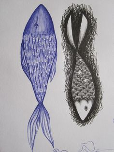 pen and ink fish {biro and Pitt pen} from my sketchbook Doodle Monster, Ocean Projects, Fish Drawings, Images Google, Biro, Arts Ed, Gone Fishing, Fish Design, Fish And Chips