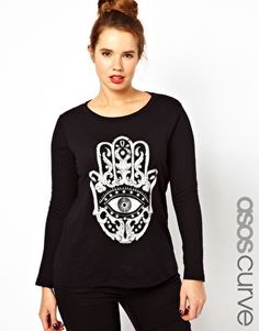 Just Purchased!!! Enlarge ASOS CURVE Exclusive Long Sleeve T-Shirt With Henna Hand