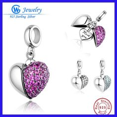Authentic 925 Sterling Silver Charms I Love You Heart Fit Original Pandora Bracelet Necklace DIY for Women Beads &Jewelry Making