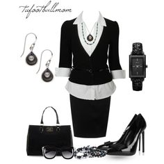 """""""Classy in Pearls - Black Pearls"""" by tufootballmom on Polyvore"""