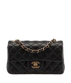 Chanel A6990 Black Quilted Lambskin Leather Shoulder Bag
