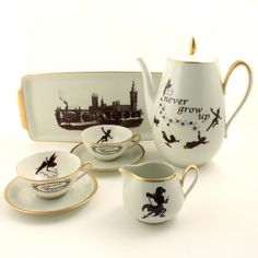 Peter Pan Tea Set Altered Teapot 2 Cups Tray Creamer Vintage Porcelain Tinkerbell J. M. Barrie Brown White