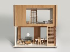 Not your average dollhouse. This two story modern home is perfectly sized to fit that tall, leggy blonde we all grew up with. DETAILS: oak and laminated plywood ships flat packed, easy to assemble Age