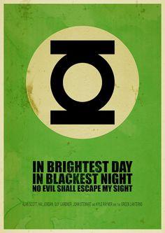 #Superheros #Minimalist posters: #GreenLantern, In brightest day, in blackest night, no evil shall escape my sight