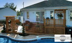 rampes de patio en bois   Patios sur terrain arrière - Les réalisations de Patio Design inc. Deck, Cabin, House Styles, Outdoor Decor, Design, Home Decor, Gardens, Courtyards, Wood Patio