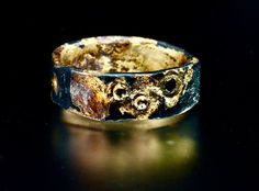 wedding rings for men Mens Viking Black and Gold Wedding Wide Band with Black Diamond Inset