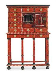 A LOUIS XIV GILT-METAL-MOUNTED AND IVORY-INLAID RED TORTOISESHELL, ROSEWOOD AND EBONISED CABINET-ON-STAND  CIRCA 1660