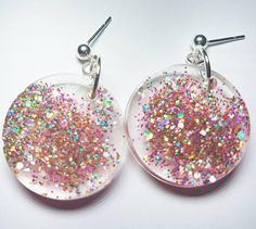 Items similar to Pink Confetti Glitter Glow Earrings on Etsy Jewelry Design, Unique Jewelry, Handmade Items, Handmade Gifts, Confetti, Sprinkles, Beading, My Etsy Shop, Glow