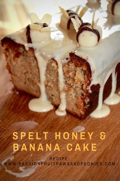 Spelt Honey and Banana cake with Honey icing and Buzzy Bees. Sweet Recipes, Cake Recipes, Spelt Flour, One Banana, Loaf Cake, Bread Rolls, Smoothies, Icing, Sweet Treats