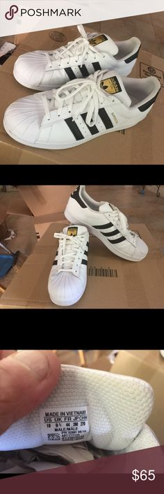 adidas Superstar man's shoe. Size 10 Used one time only and it's look new, white and black shoe. Adidas Shoes Athletic Shoes