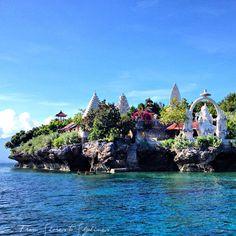 Cliff-side temple on Menjangan Island  off the coast of Bali in Indonesia