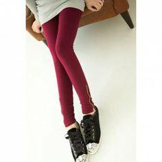$7.15 Stylish Solid Color Slim-Fit Zipper Embellished Bottom Leggings For Women