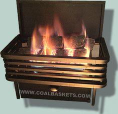 Vent Free Coal Baskets recreate the look and warmth of victorian Coal Burning baskets. Gas Coal Baskets also solve the delima of small fireplaces that just don't lend themselves to conventional gas logs. Outdoor Gas Fireplace, Fireplace Logs, Small Fireplace, Fireplace Remodel, Fireplace Inserts, Stone Fireplace Designs, Outdoor Fireplace Designs, Built In Electric Fireplace, Wall Fires