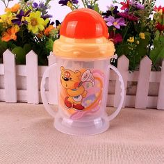 1PC Toddler Infant Newborn Baby Kids Cup Handle Children Cute Learn Feeding Drinking Water Straw Handle Bottle Sippy Cup 300ml