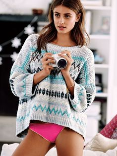 Found: the perfect chunky sweater in a wintry print. We've got the pics to prove it. | Victoria's Secret Boatneck Sweater