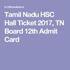 Tamil Nadu HSC Hall Ticket 2017, TN Board 12th Admit Card