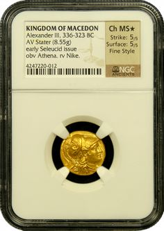 Absolutely wonderful and razor-sharp example of an Alexander the Great gold stater that has received all the important accolades from NGC Ancients. It has been awarded a star for excellent eye appeal and the coveted fine style designation. Obverse depicts Athena, the goddess of war in a helmet. The reverse depicts Nike, the goddess of Victory. There are very few ATG gold staters with this extreme level of perfection available in the marketplace today. - www.austincoins.com