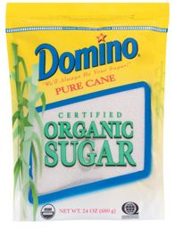 Organic Sugar    Domino® Organic Sugar is harvested and milled on the same day from certified organic sugar cane. Starting with a special single crystallization process that preserves the flavor of sun-sweetened sugar cane. Domino® Organic Sugar is made from certified organic sugarcane and produced in accordance with the USDA's National Organic Program and certified organic by Quality Assurance International.  Organic Sugar    Available Sizes:  24-oz. resealable poly bag