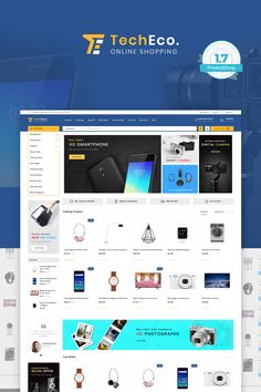 TechEco - BigCommerce Theme is a modern, clean and professional BigCommerce theme is fully responsive, it looks stunning on all types of screens and devices. Ecommerce Website Design, Website Design Layout, Design Web, Slider, At Home Furniture Store, Photoshop, Website Themes, New Theme, Website Template