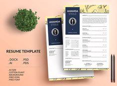 Cotton Plant Resume Template / CV Template/ Letterhead