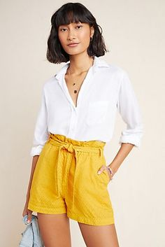 Rhys Textured Paperbag Shorts by Amadi in Yellow Size: Xs, Women's at Anthropologie Short Outfits, New Outfits, Spring Outfits, Short Dresses, Cute Outfits, Trendy Outfits, Loungewear Outfits, Yellow Clothes, Princess Outfits