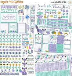 SALE 50% Off Lavender Mint Printable Planner von DigiScrapDelights
